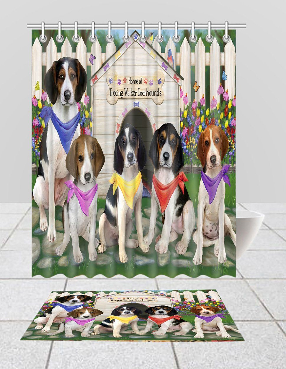 Spring Dog House Treeing Walker Coonhound Dogs Bath Mat And Shower