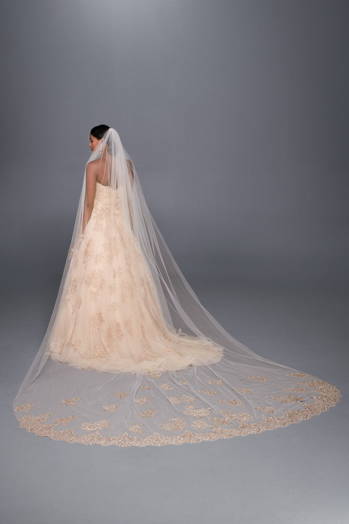 a hint of pink to match your rose gold wedding gown rose gold embroidered cathedral