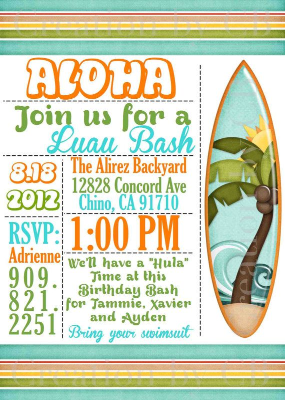 Luau Bash Invitation Birthday Potluck Party Invite BBQ Printable Digital File You Print On Etsy 1000
