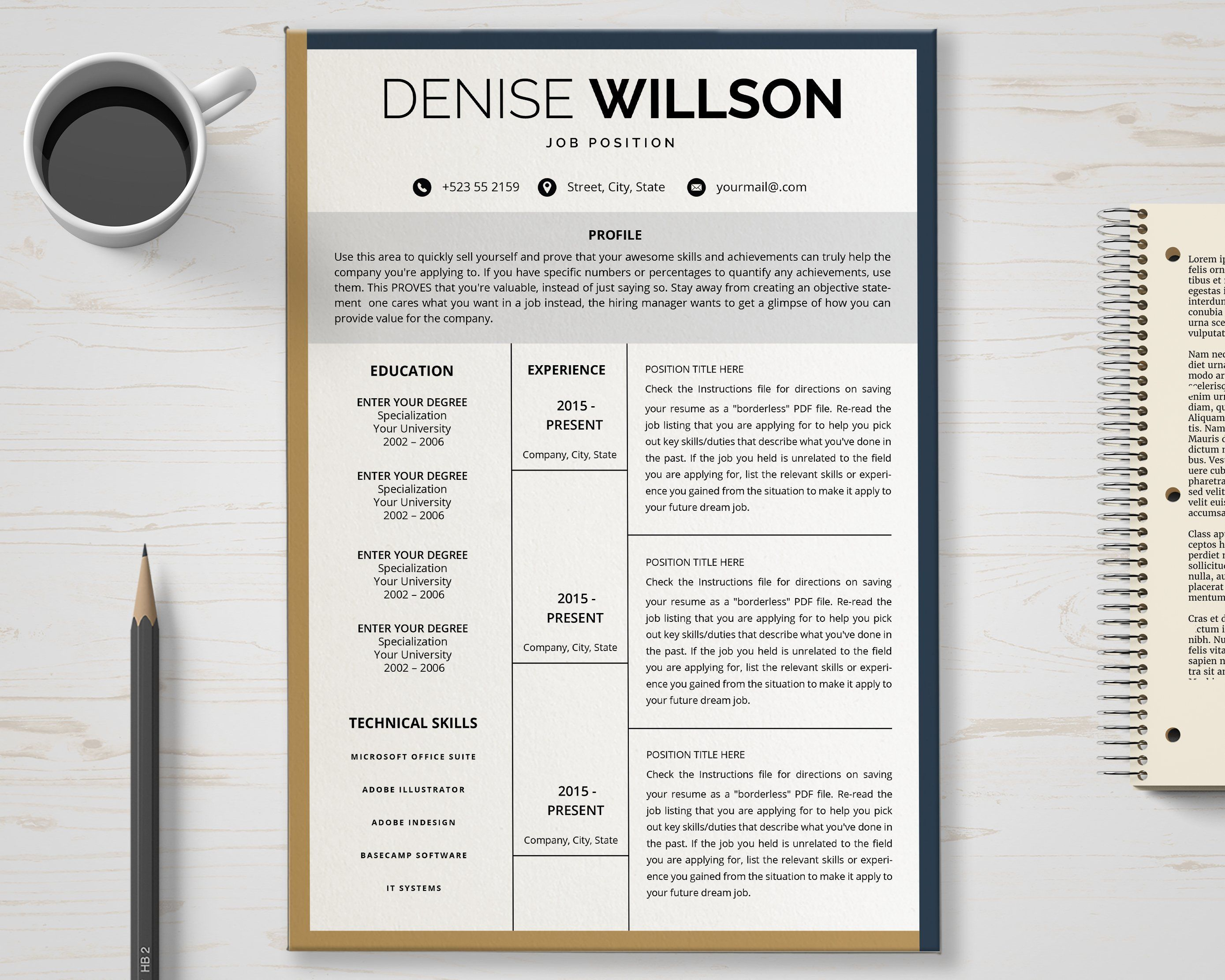 Resume Cv Template Clean Modern And Professional Resume And
