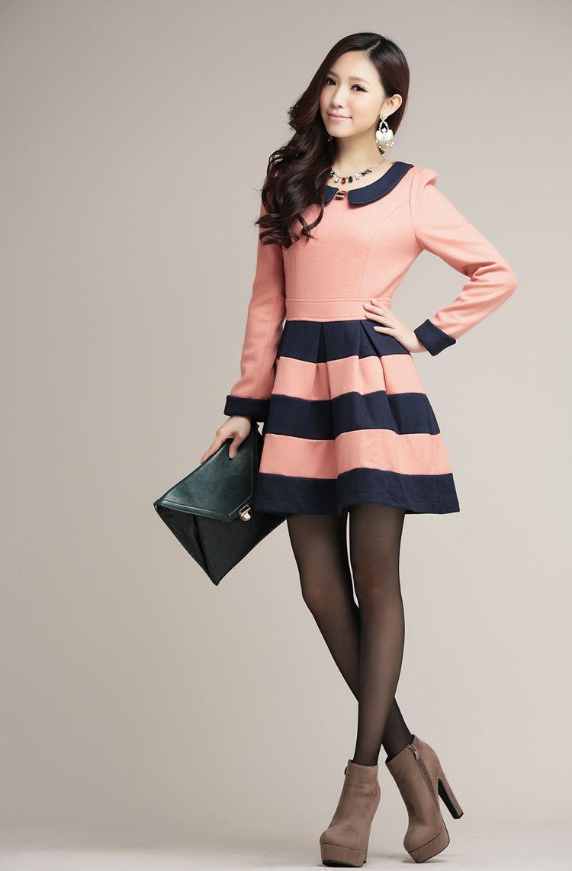 Korean Fashion Hit Color Stripe Woolen Dress Korean Fashion