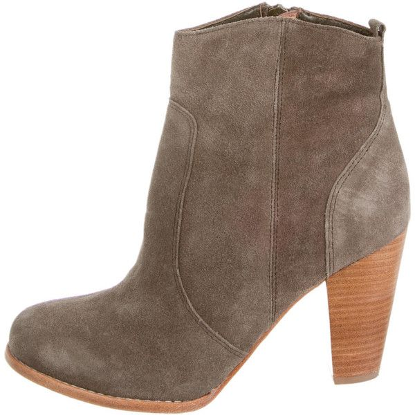Pre-owned Joie Ankle Boots ($75) ❤ liked on Polyvore featuring shoes, boots, ankle booties, green, green ankle boots, stacked heel bootie, suede booties, ankle boots and stacked heel booties