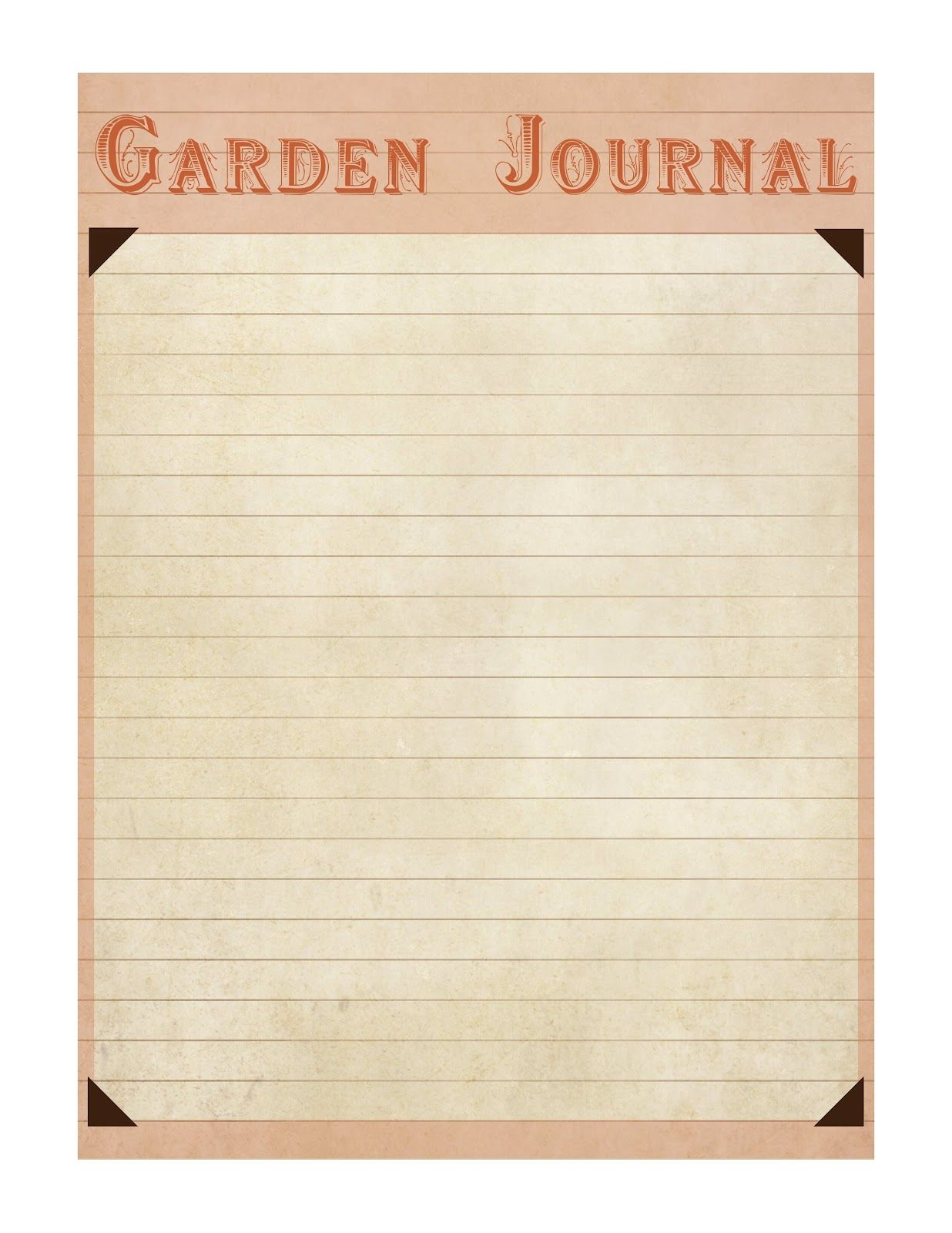 Garden Journal Blank Page Free Printable Also With Hollyhock