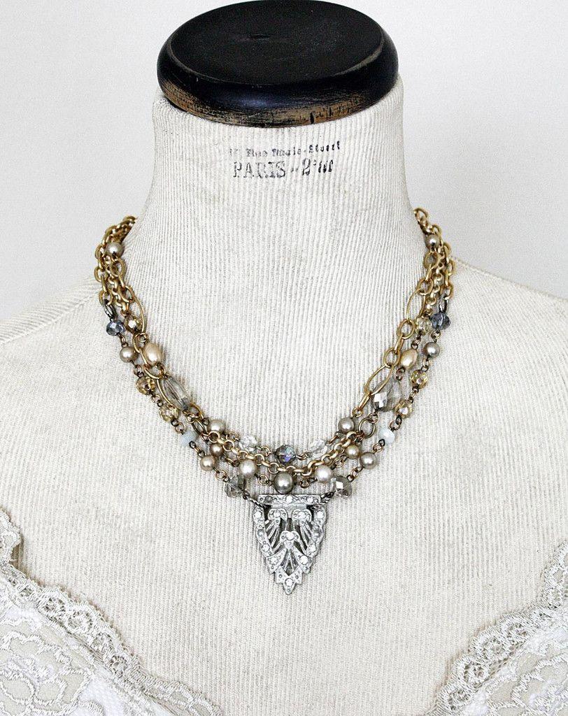 Vintage Art Deco Rhinestone Clip Layered Necklace -  Cupids Charm