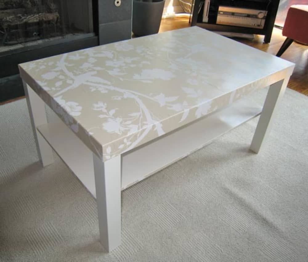 Lizzies Wallpapered Ikea Lack Table Laquer Une Table Table Ikea Ikea