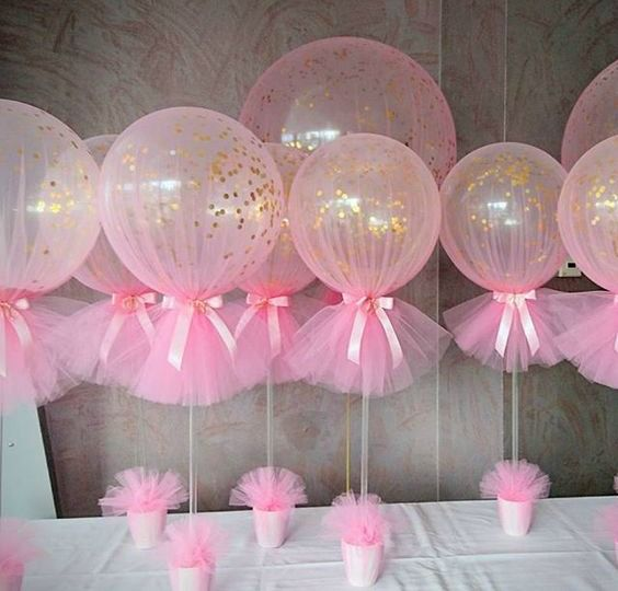 21 Pink and Gold First Birthday Party Ideas Tulle balloons Gold