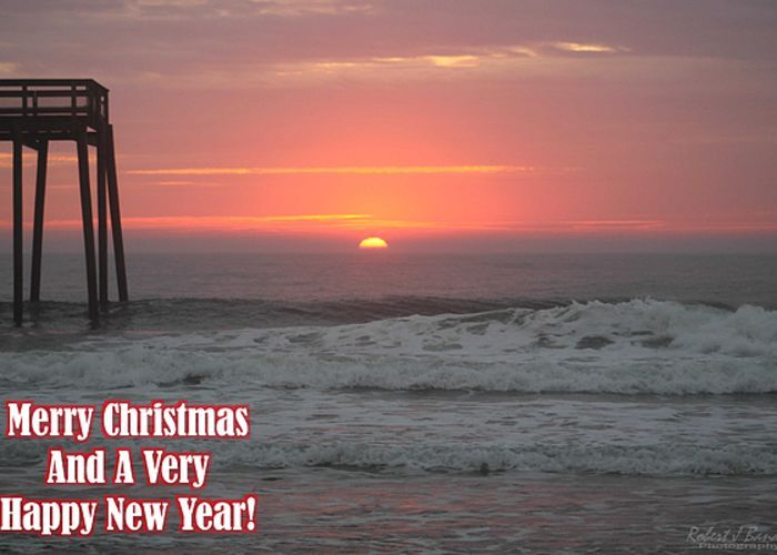 """Merry Christmas Sunrise  Greeting Card for sale by Robert Banach.  Our premium-stock greeting cards are 5"""" x 7"""" in size and can be personalized with a custom message on the inside of the card.  All cards are available for worldwide shipping and include a money-back guarantee."""