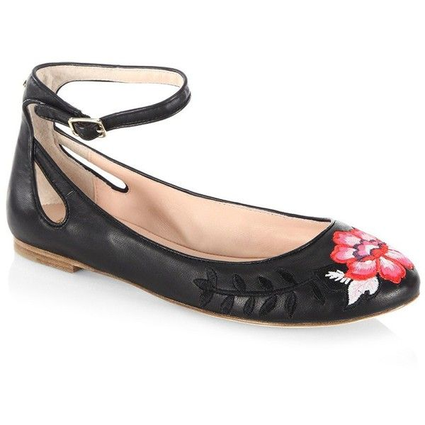 Kate Spade New York Embroidered Ankle Strap Leather Flats tsMfbTEvYr