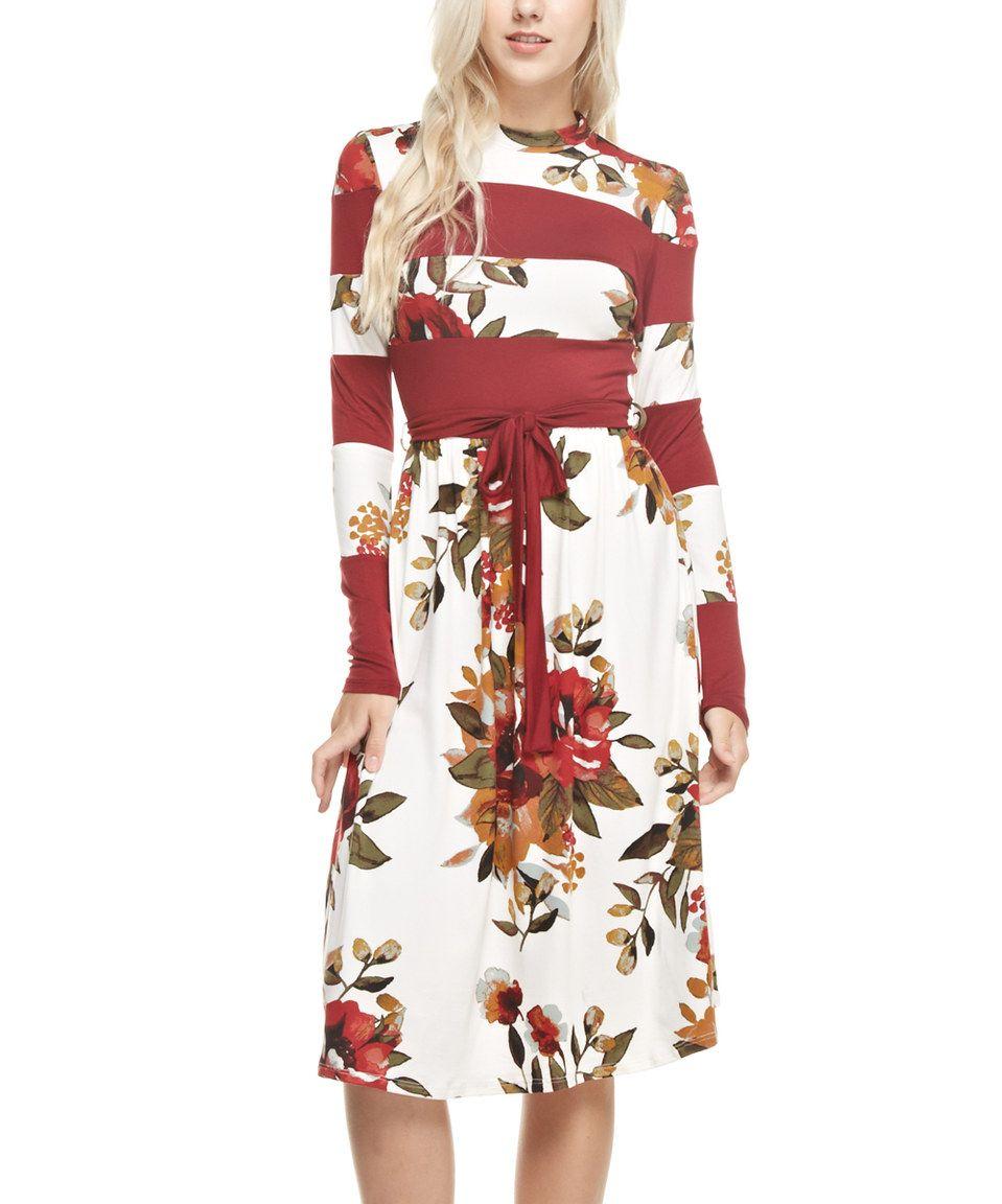 Love this reborn j white u wine floral stripe swing dress by reborn