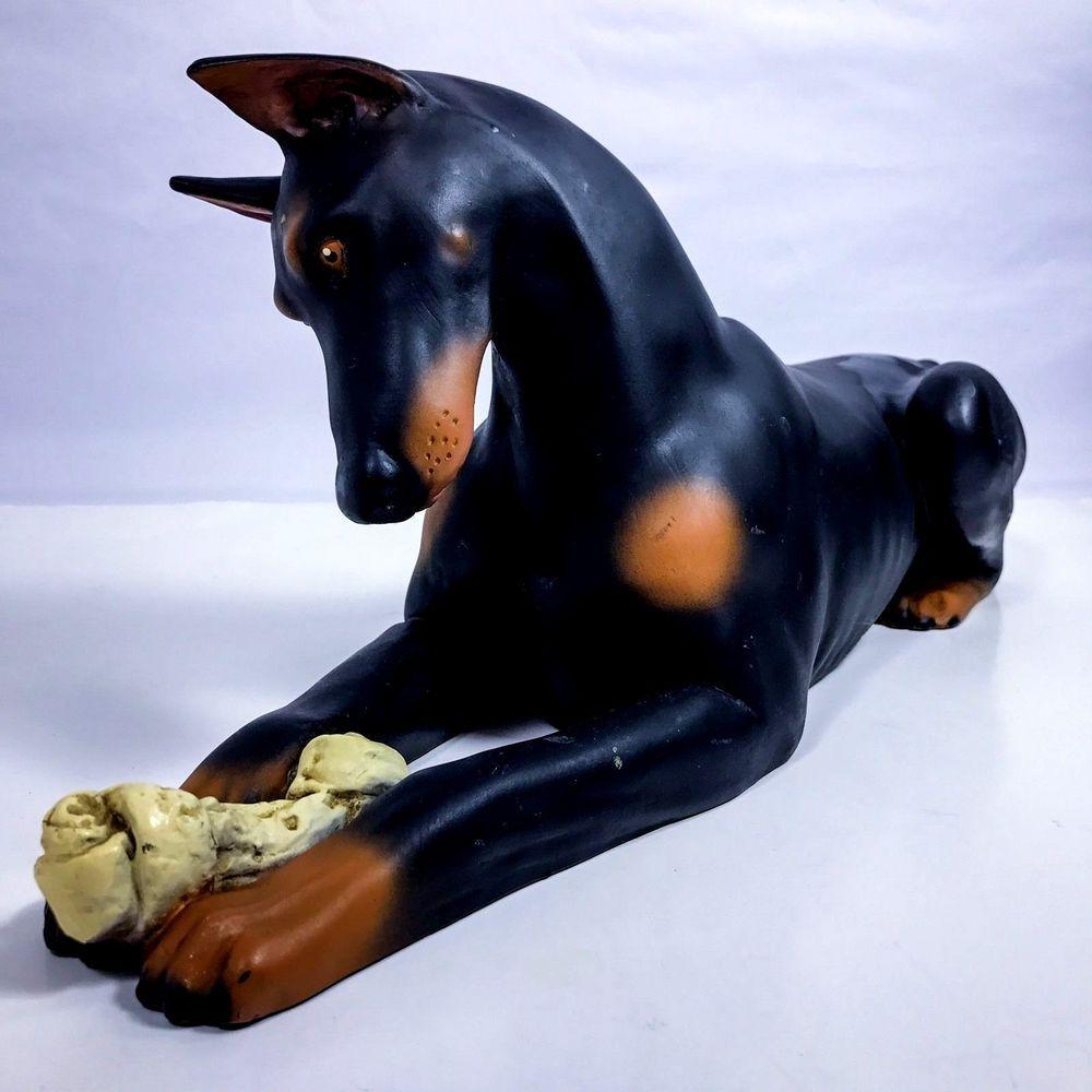 Large Vintage Doberman Pinscher Dog W Bone Large Resin Figurine