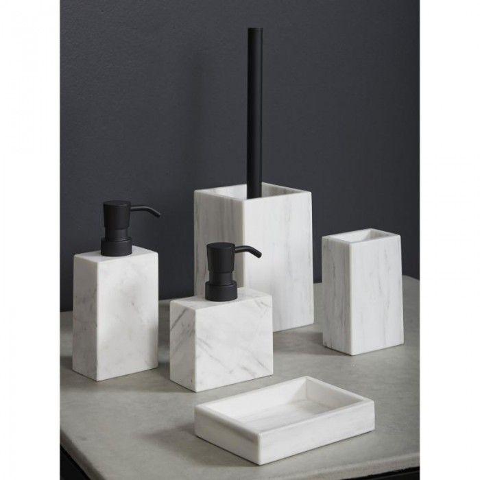 Mette ditmer white marble toilet brush holder bathroom for Marble toilet accessories