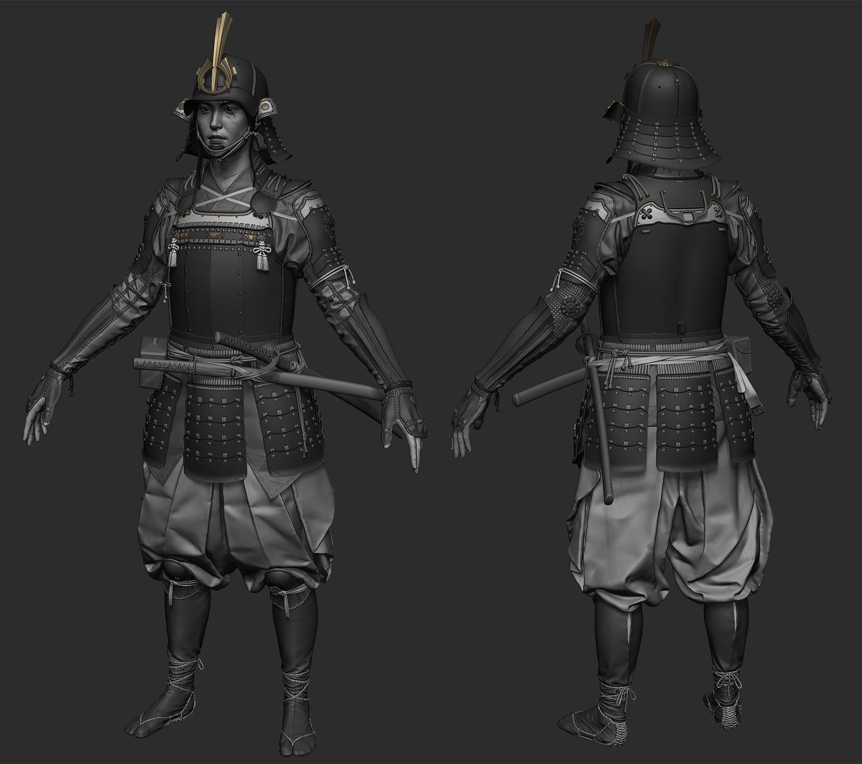 [Finished] Samurai Arm armor, Zbrush, Samurai gear
