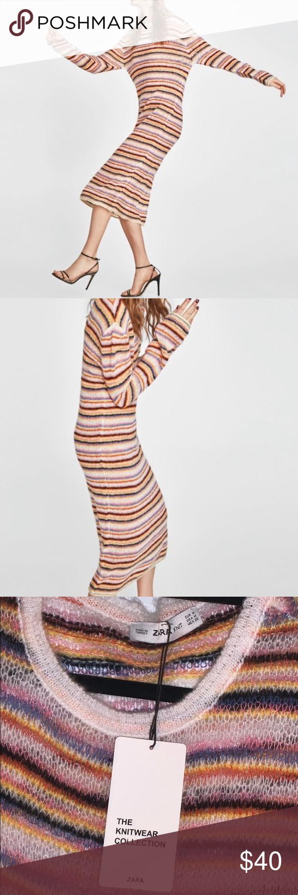 Zara Long Knit Multicolor Dress Multicolor Dress Striped Knit Dress Long Knit [ 1740 x 580 Pixel ]