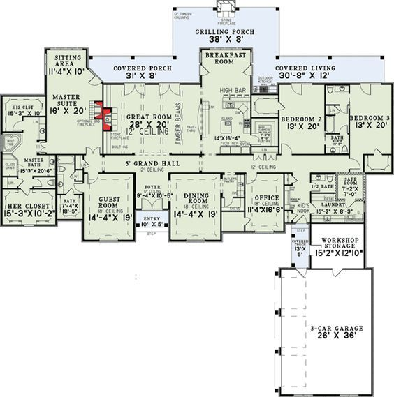 plan 60502nd 4 bedroom grandeur luxury house - Luxury House Plans