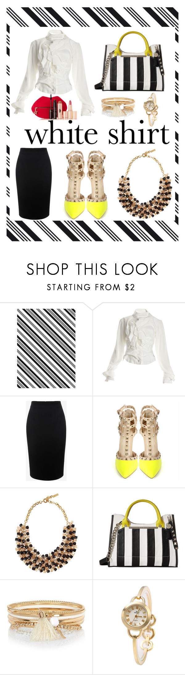 """""""The White Shirt"""" by carliruiz ❤ liked on Polyvore featuring Darice, Vivienne Westwood, Alexander McQueen, Etro, Steve Madden, River Island, Charlotte Tilbury and WardrobeStaples"""