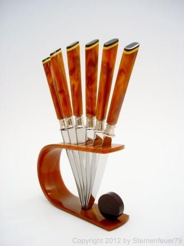 Art Deco Bakelite Fruit Knife Set Butterscotch Flatware Knives 100