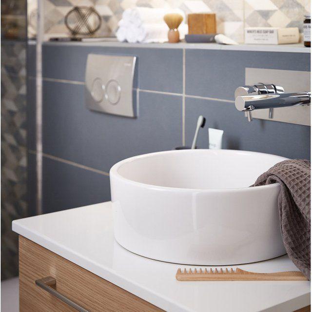 Vasque A Poser Ceramique Diam 35 Cm Blanc Tube Leroy Merlin Vasque A Poser Salle De Bain Design Lavabo Salle De Bain