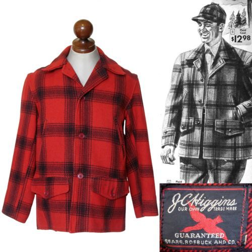 85beda4000dd6 Vintage Early 1950s JC Higgins Sears Mackinaw Plaid Hunting Jacket Coat 40  | eBay