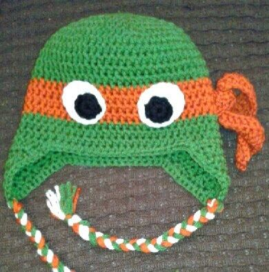 Teenage mutant ninja turtle crochet hat, ear flaps w/braided tails ...