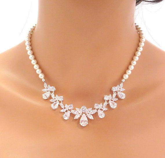 Pearl Wedding Necklace Bridal Jewelry Rose Gold Bridal Necklace Cz