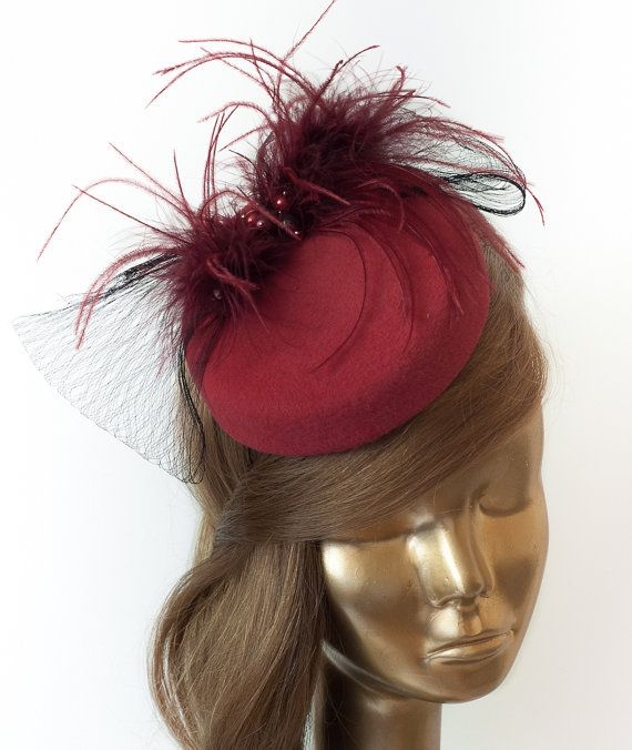 Amazing Red FASCINATOR with black VEIL   Maroon Ostrich Feathers. WEDDING  Fascinator.  120.00 f388d3afbd8