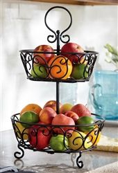 2 Tier Wrought Iron Fruit Basket