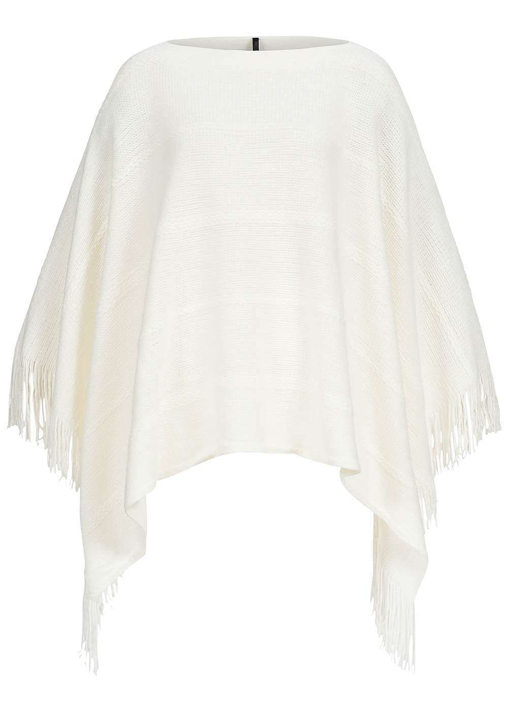 ONLY Damen Strick Poncho Fransen seitlich whitecap gray weiss - 77onlineshop