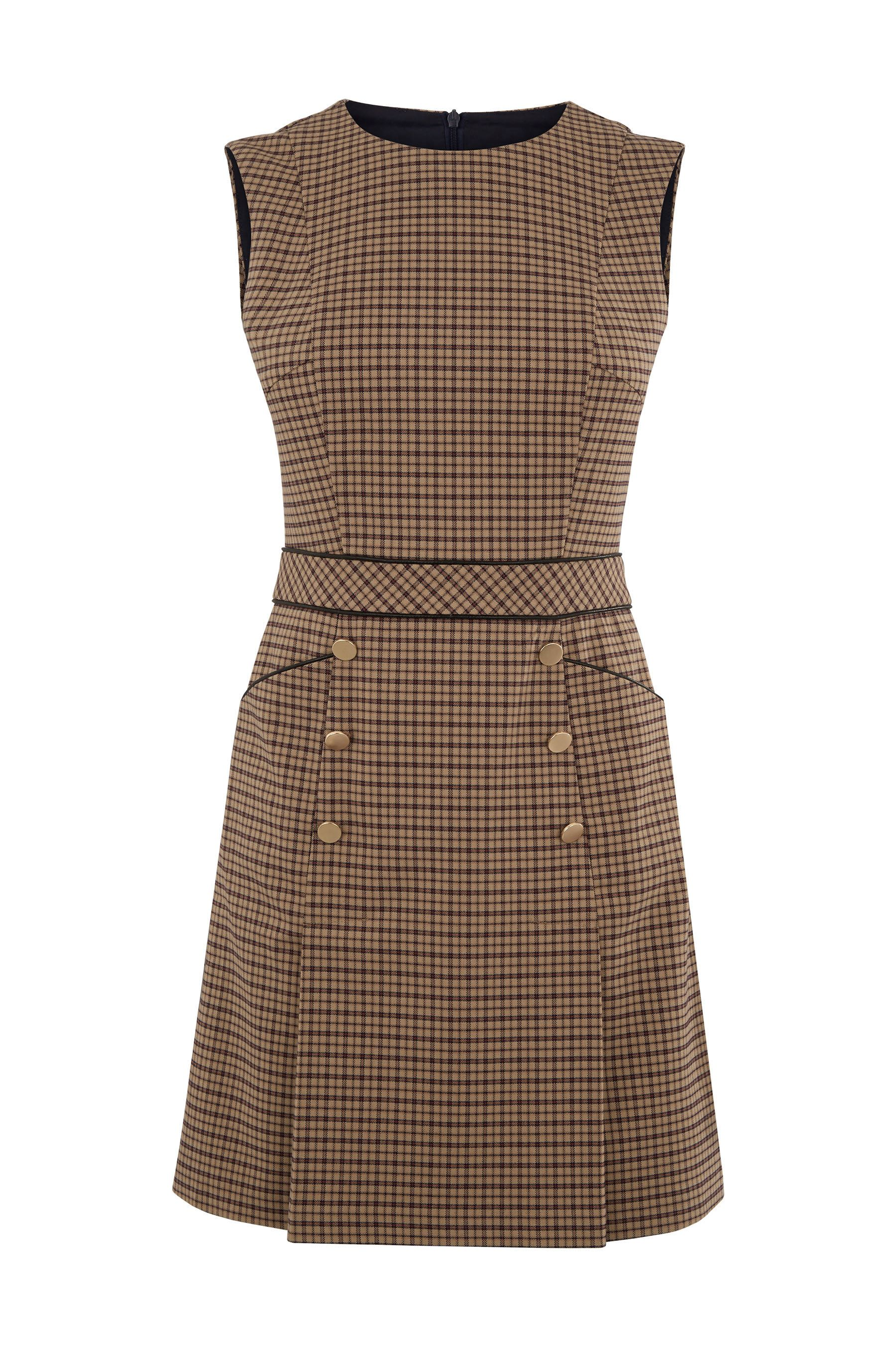 a1b00bff972 Womens Oasis Brown Heritage Check Pinafore Dress - Black