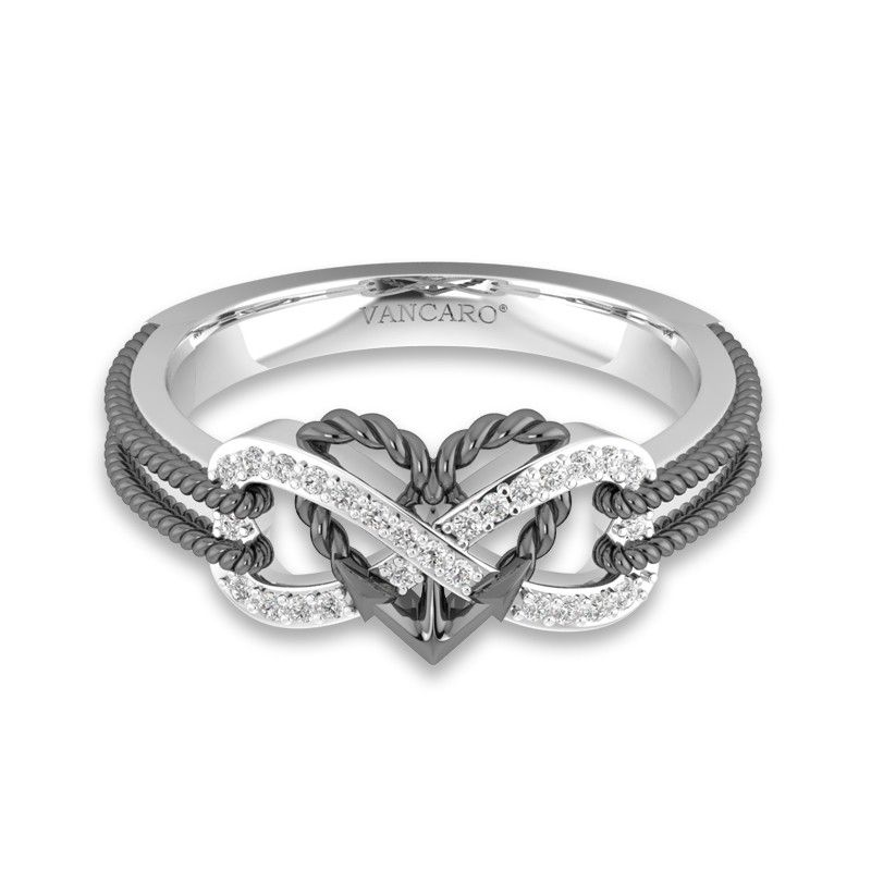 Ladies White Gold Finish Black Diamond Infinity Knot Heart Promise Fashion Ring
