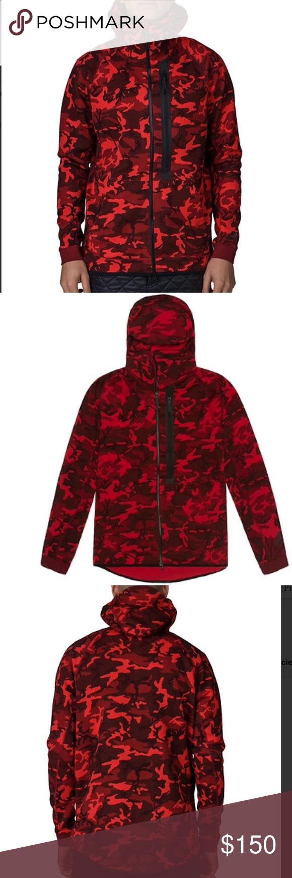 700fb4d8fd78 Nike Red Tech Fleece Full Zip Camo Hoodie Sweater NIKE Tech fleece full zip  camouflage hoodie