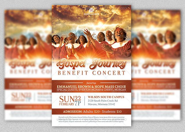 Church Flyer  Gospel Benefit Concert Church Flyer Template