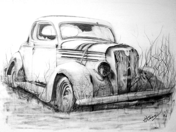 Old Abandoned Car Graphite Pencil Drawing Print From An Original