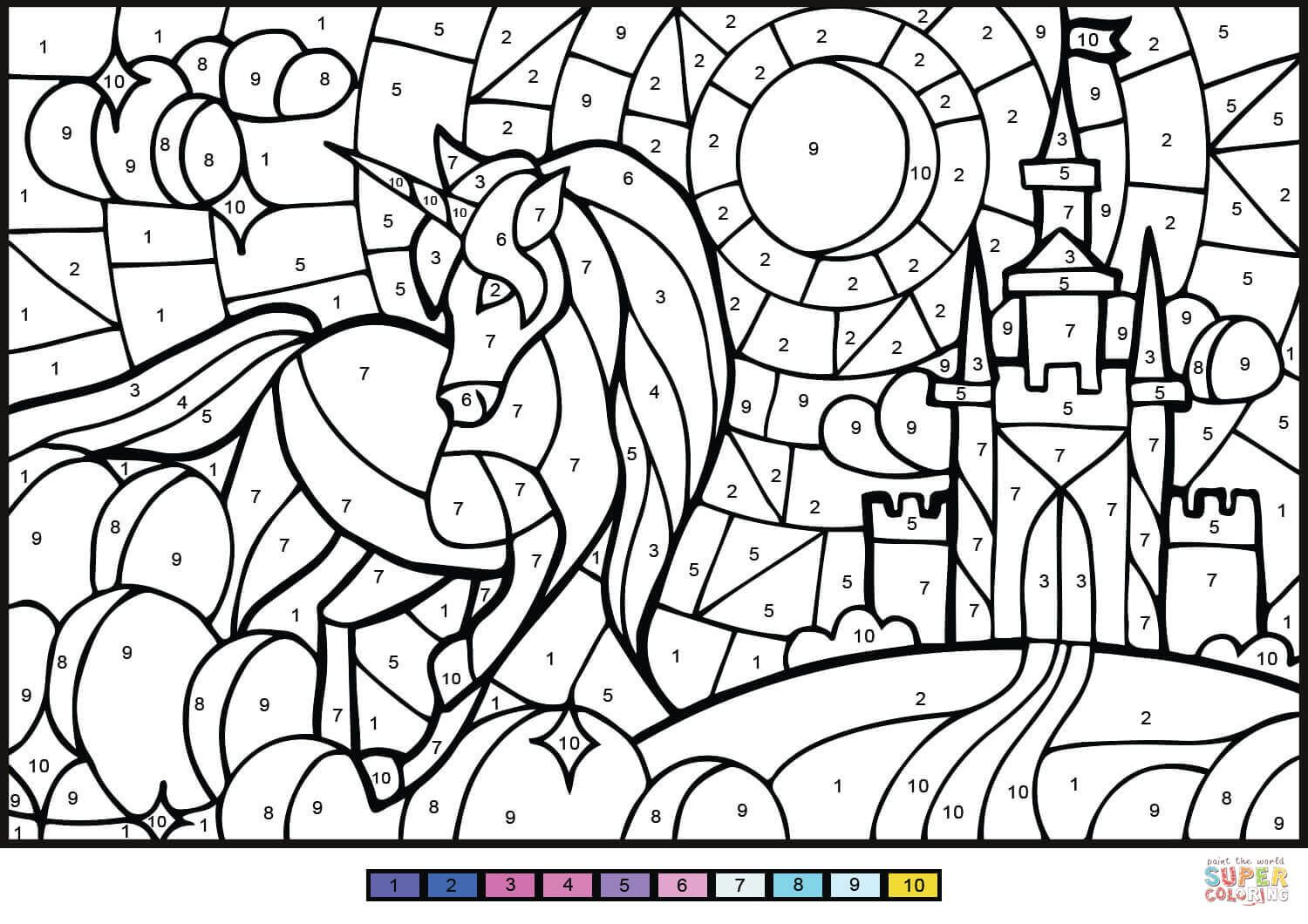 Unicorn Color By Number Free Printable Coloring Pages In 2021 Color By Number Printable Unicorn Coloring Pages Online Coloring Pages