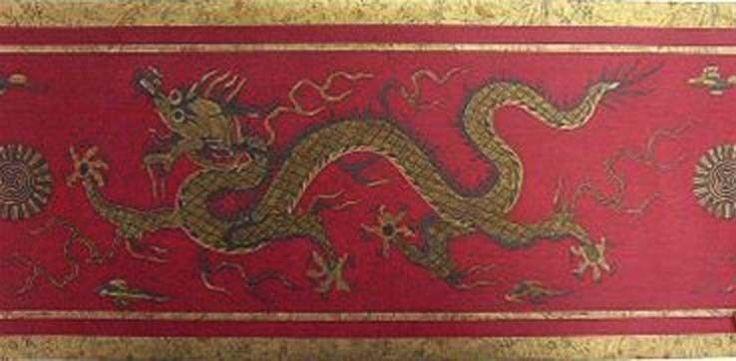 Chinese Dragon Oriental Asian Red Gold Raymond Waites Design