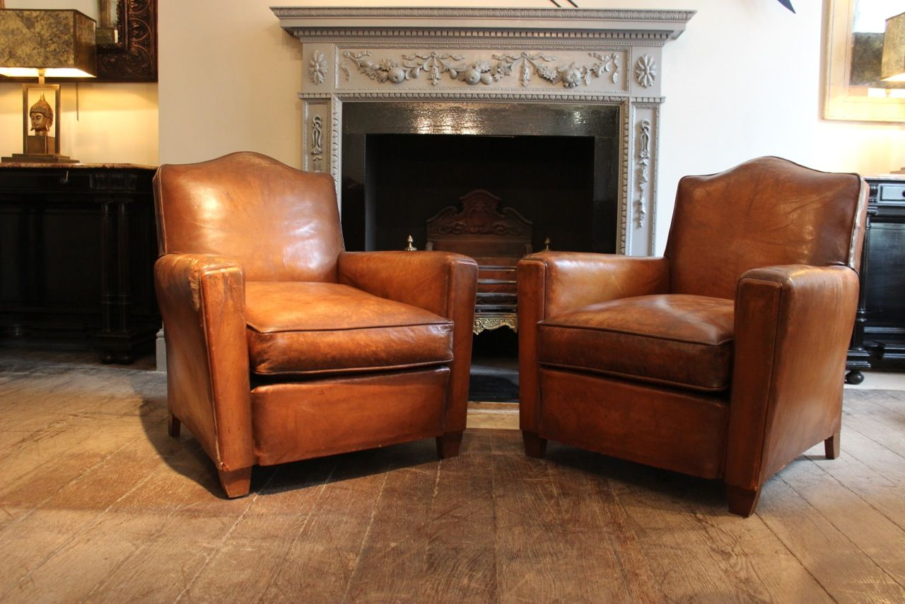 Peachy Good Pair Of Small 1940S French Leather Armchairs Antique Machost Co Dining Chair Design Ideas Machostcouk