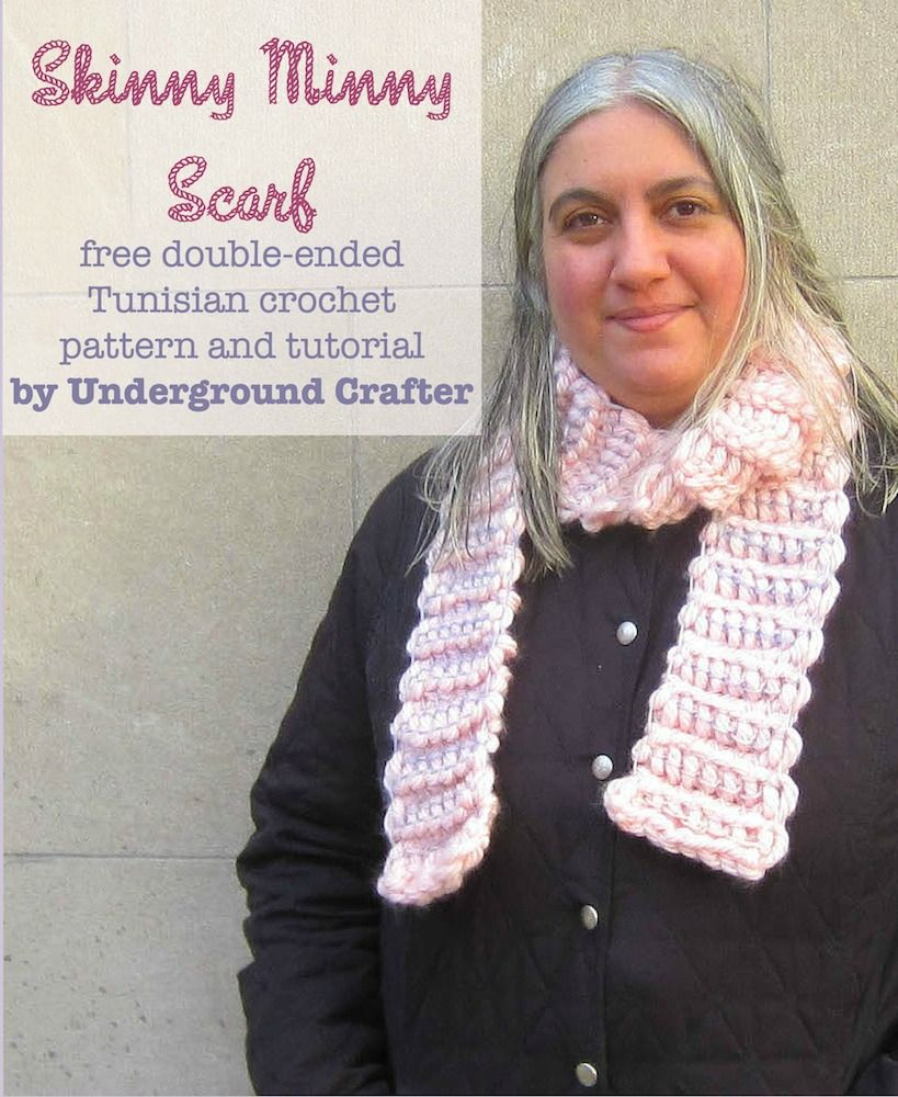 Skinny minny scarf in red heart grande and boutique unforgettable skinny minny scarf free double ended tunisian crochet pattern and tutorial by underground crafter in red heart grande and boutique unforgettable yarns bankloansurffo Image collections