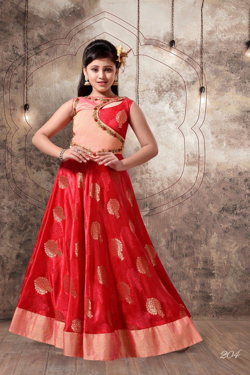 Adorning silk embroidered kids wear dresses designers for girls