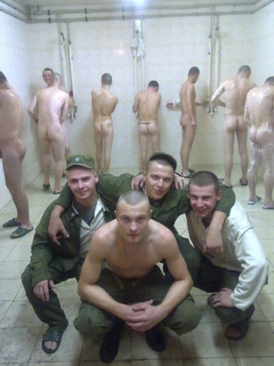 Naked military guys in the shower, private nudist resort