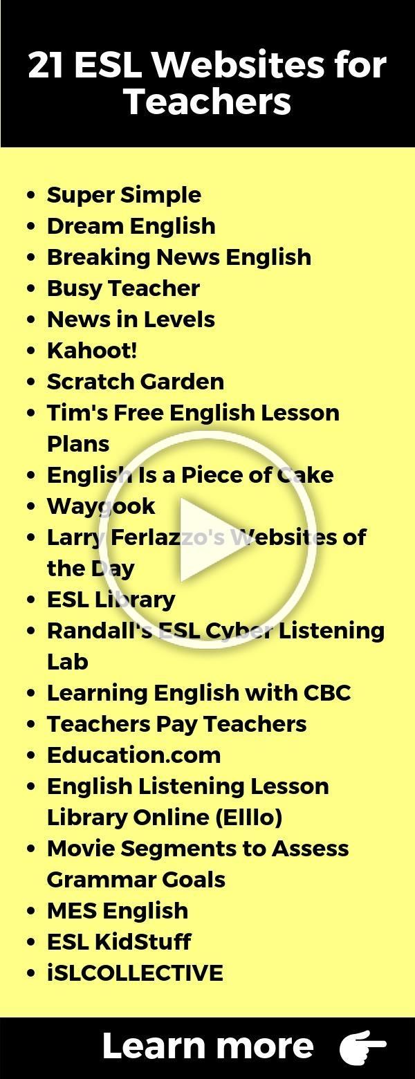 Teaching English as second language (ESL), which websites ...