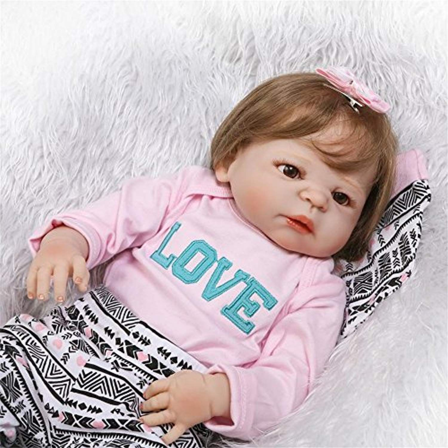 Soft Realistic Reborn Baby Dolls Girl 23 Inch 57cm Full Body Silicone Vinyl  Lifelike Baby Alive Dolls Playmates For Kids Birthday Christmas Holiday  Gift ... 4ad44d911d