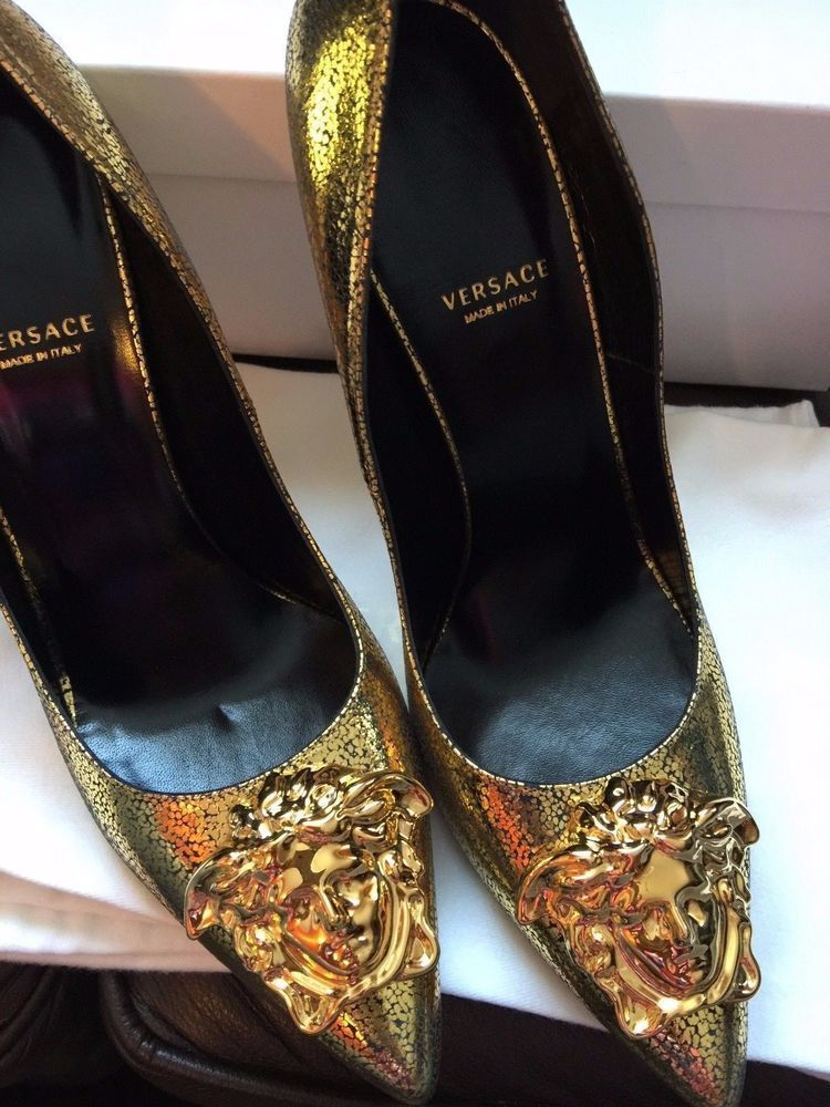 81daf4eb56c0 NWT AUTHENTIC VERSACE Gold PALAZZO MEDUSA STILETTO HEEL PUMPS POINTED TOE   Versace  Stilettos  SpecialOccasion