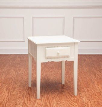 Amazon.com: Furniture,Bead Board End Table, White,Wood,24x19x18 Inches: Home & Kitchen