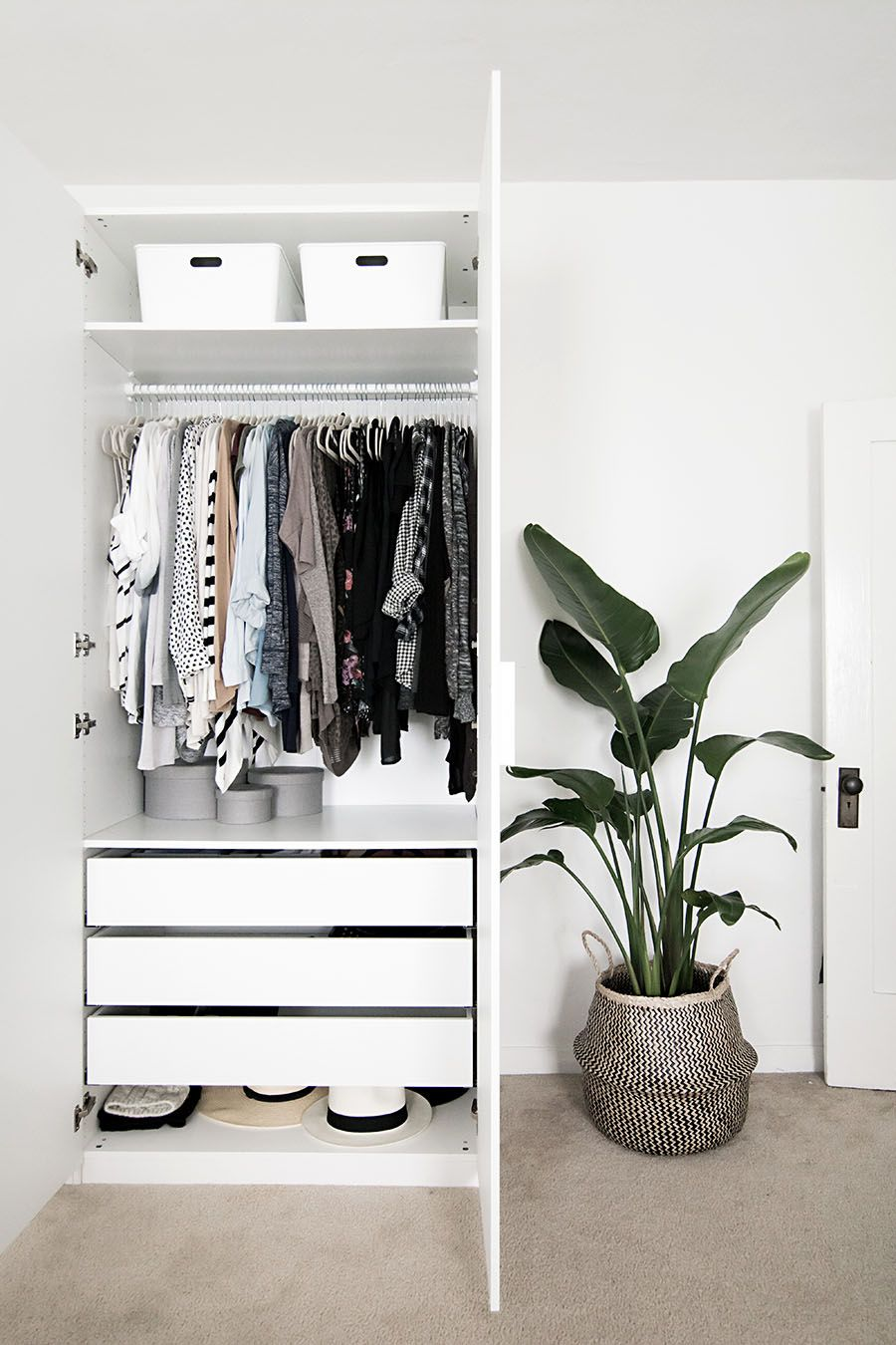 Swooning over this minimalist closet + Less is more. Shop similar looks @ .crateandrust.com & Hideaway Storage Ideas for Small Spaces | Pinterest | Storage ideas ...
