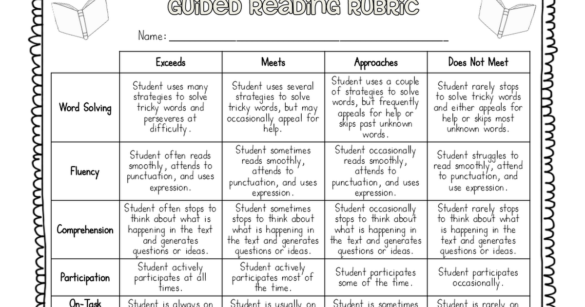 guided reading rubric pdf | Formative Assessment ideas