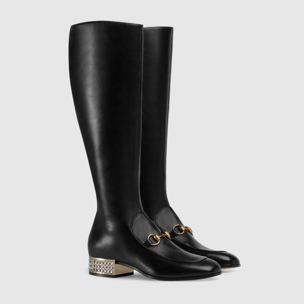 127704f2c77 Shop the Horsebit leather knee boot with crystals by Gucci. Designed with  the classic shape of the loafer, the Horsebit knee boot bridges the past to  the ...
