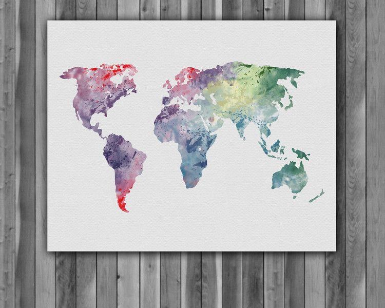Digital Printing World Map Watercolor Art Print Poster Painting