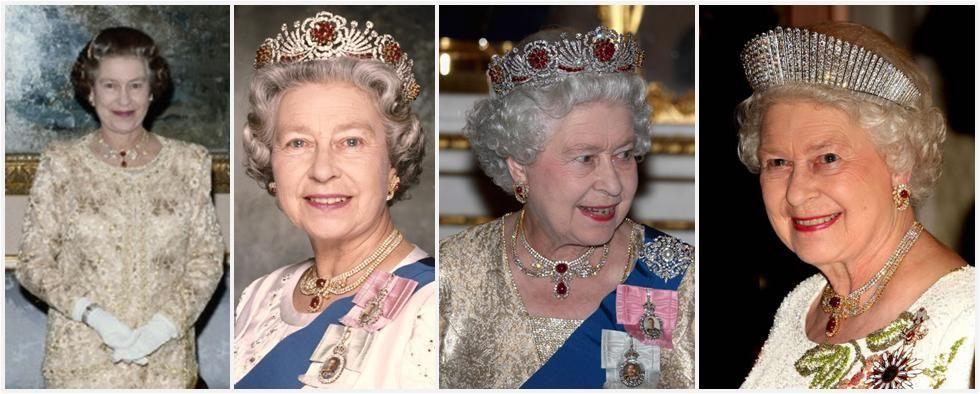 Le rubis et diamants Demi-Swag Parure Un autre des ensembles modernes de bijoux appartenant à la Reine est cette demi-parure d'un collier et boucles d'oreilles en rubis et de diamants. Le collier est un design diamant butin mis en or et centrée autour de deux grands rubis. Les boucles d'oreilles assorties comprennent chacun un rubis central situé dans un tourbillon de diamant. Selon Leslie Field à bijoux de la reine , cet ensemble était un cadeau de Cheikh Khalifa bin Hamad Al Thani, qui ...