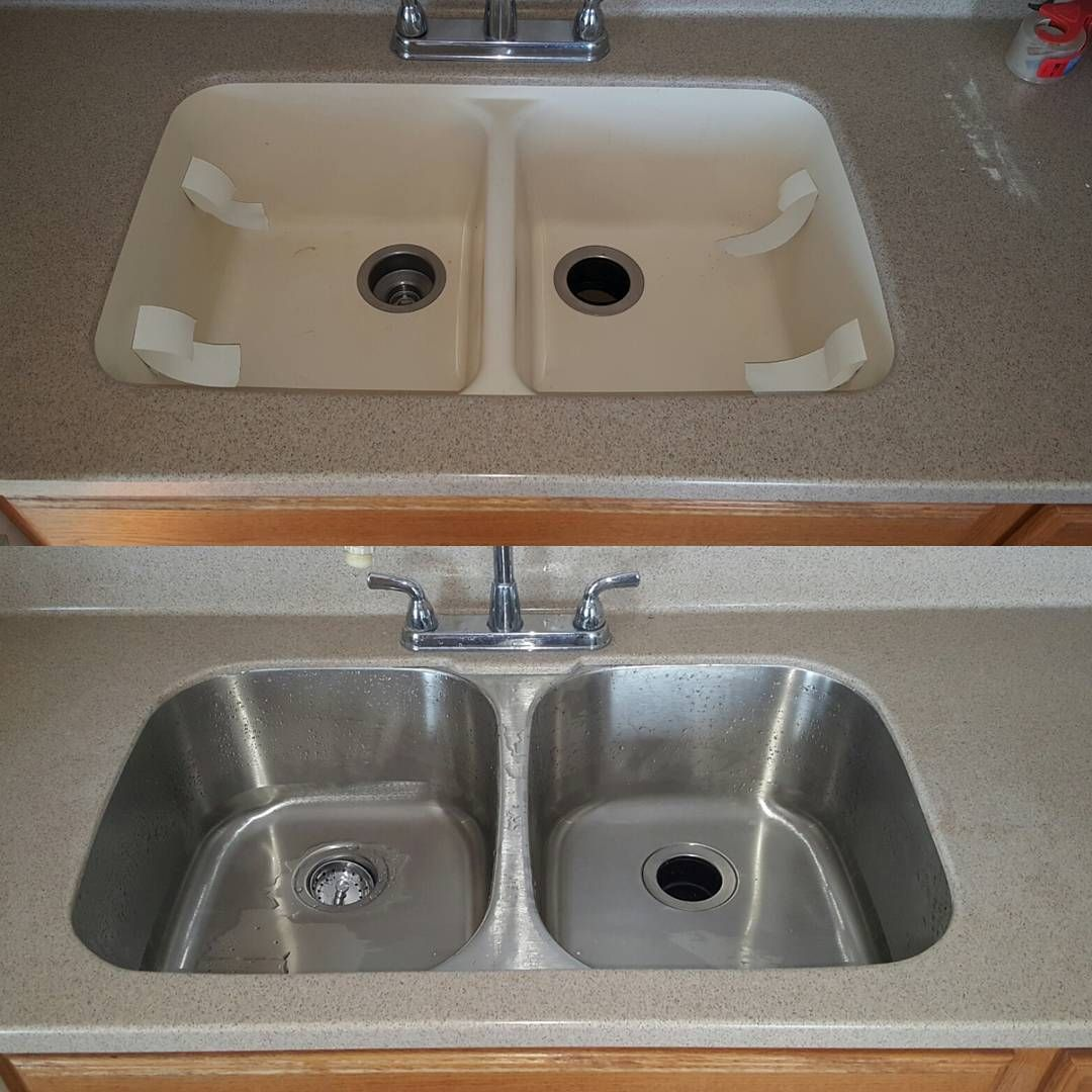 Sink Conversion From Solid Surface To Stainless Steel Undermount