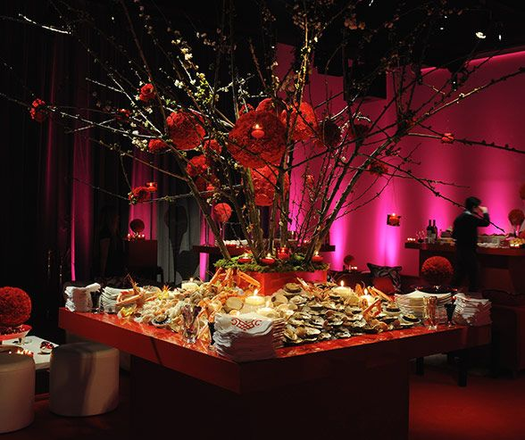 Wedding Food Tables: Illuminated By Floating Candles And Spotlights, A