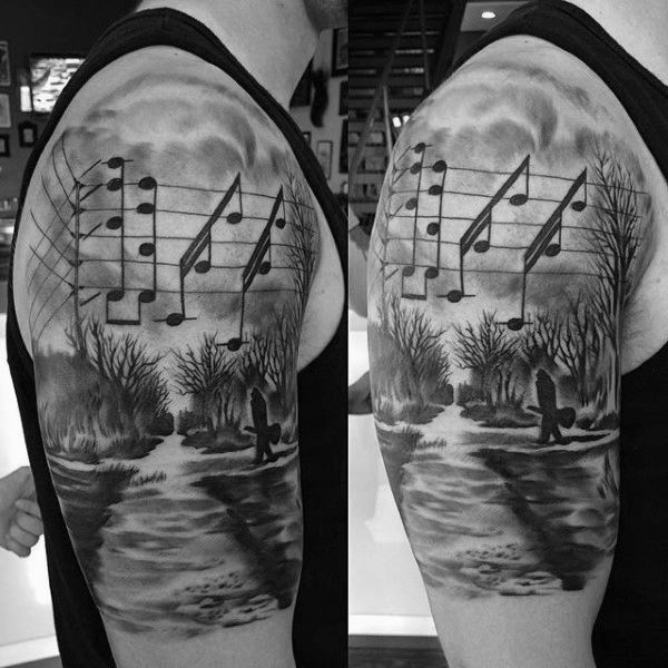 Musical Notes In A Meadow Tattoo For Men On Arms #style #shopping #styles #outfit #pretty #girl #girls #beauty #beautiful #me #cute #stylish #photooftheday #swag #dress #shoes #diy #design #fashion #Tattoo